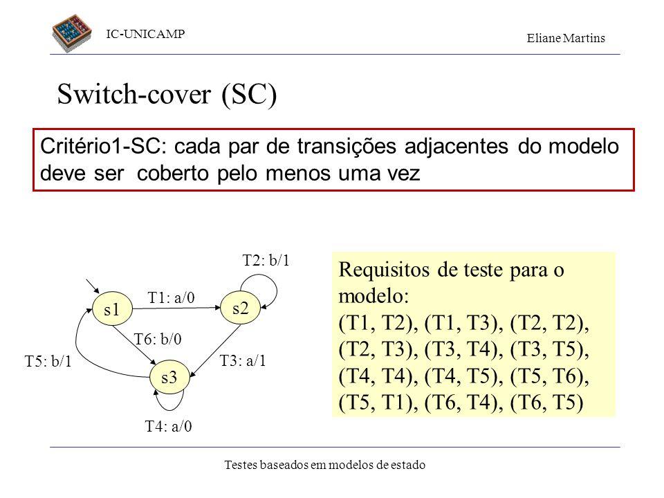 Switch-cover (SC)Critério1-SC: cada par de transições adjacentes do modelo deve ser coberto pelo menos uma vez.