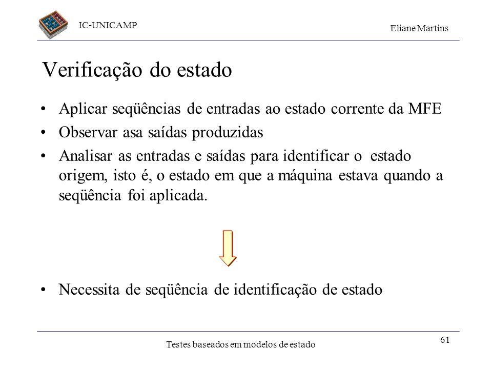 Verificação do estadoAplicar seqüências de entradas ao estado corrente da MFE. Observar asa saídas produzidas.