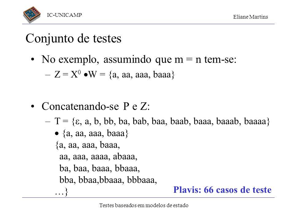 Conjunto de testes No exemplo, assumindo que m = n tem-se: