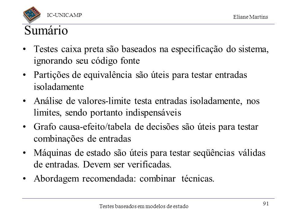 Sumário Testes caixa preta são baseados na especificação do sistema, ignorando seu código fonte.