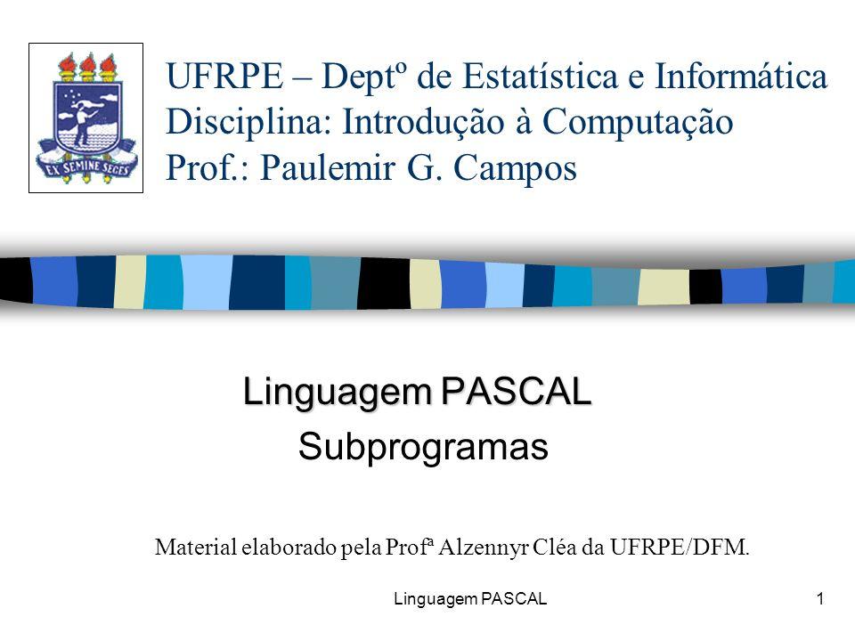 Linguagem PASCAL Subprogramas