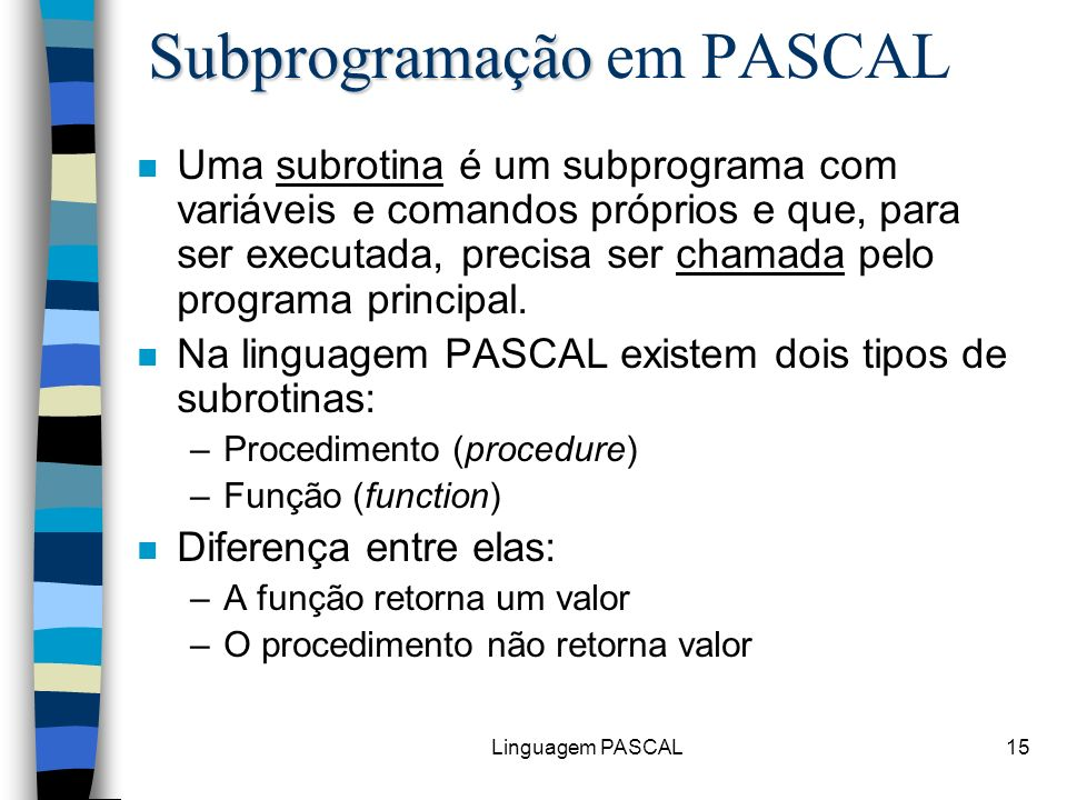 Subprogramação em PASCAL