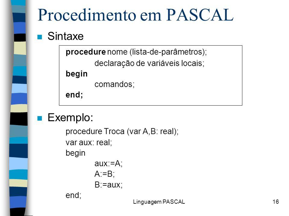 Procedimento em PASCAL