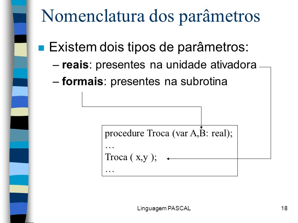 Nomenclatura dos parâmetros