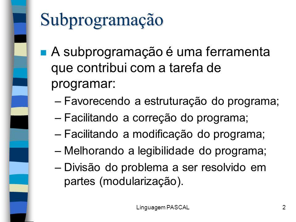 Subprogramação A subprogramação é uma ferramenta que contribui com a tarefa de programar: Favorecendo a estruturação do programa;