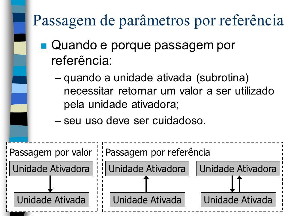Passagem de parâmetros por referência