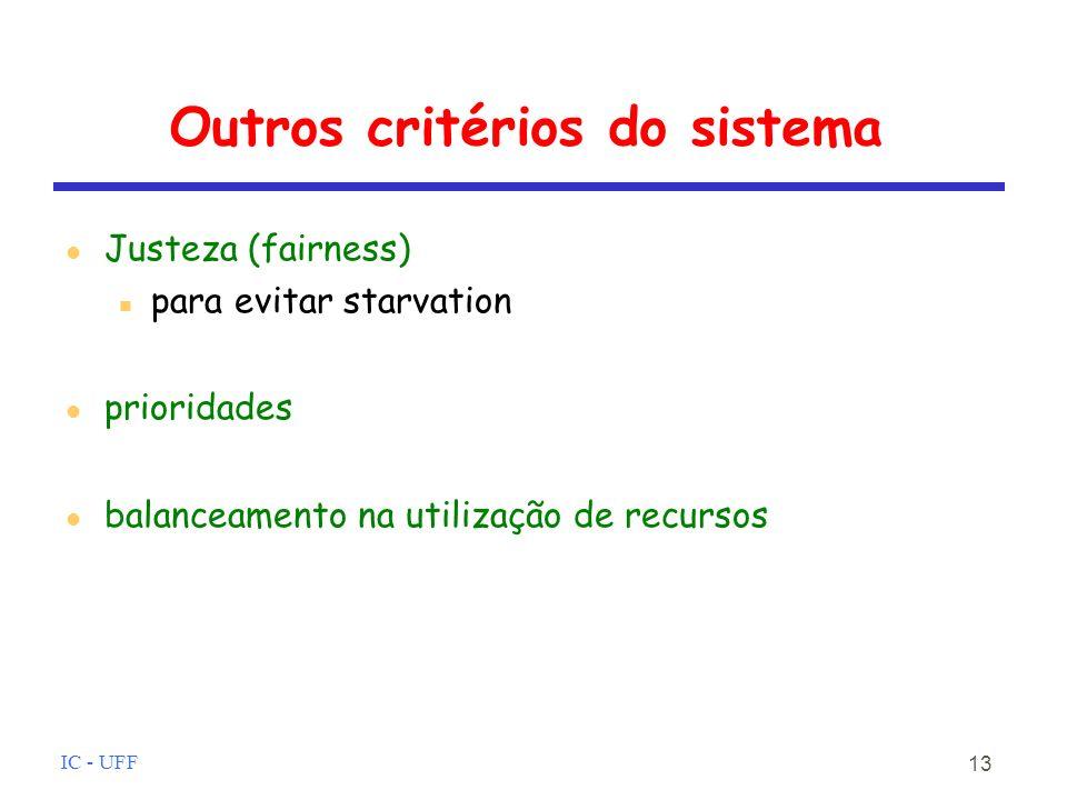 Outros critérios do sistema
