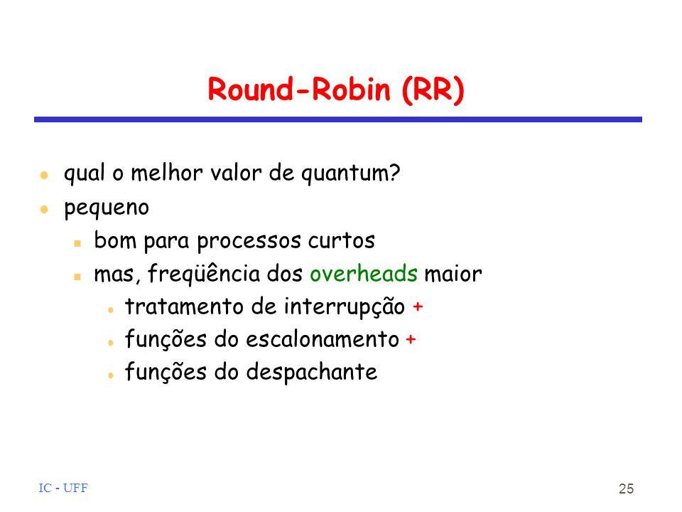 Round-Robin (RR) qual o melhor valor de quantum pequeno