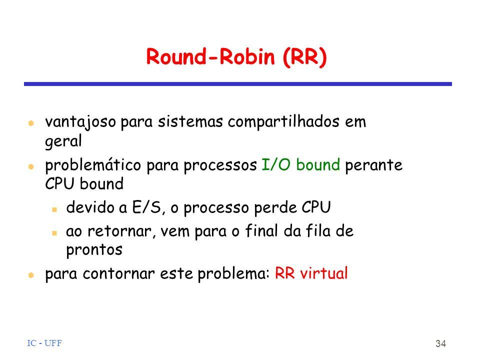 Round-Robin (RR) vantajoso para sistemas compartilhados em geral