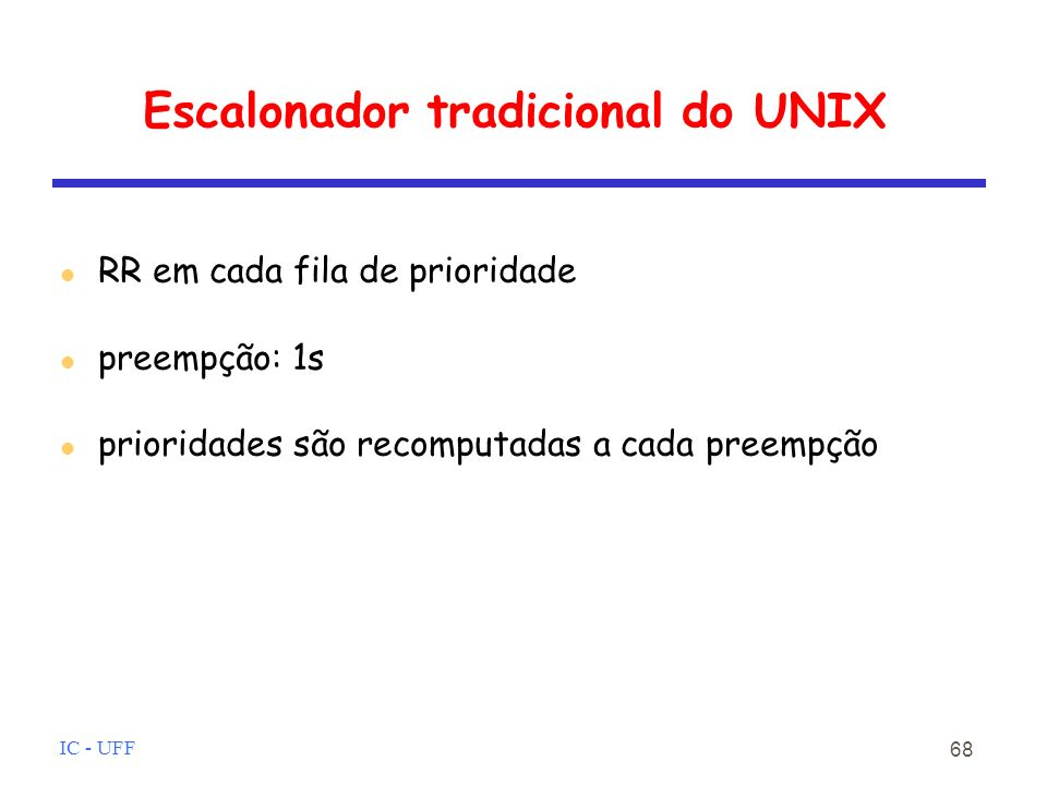 Escalonador tradicional do UNIX
