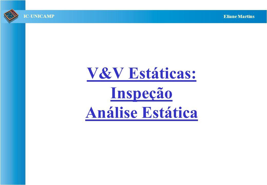 V&V Estáticas: Inspeção Análise Estática