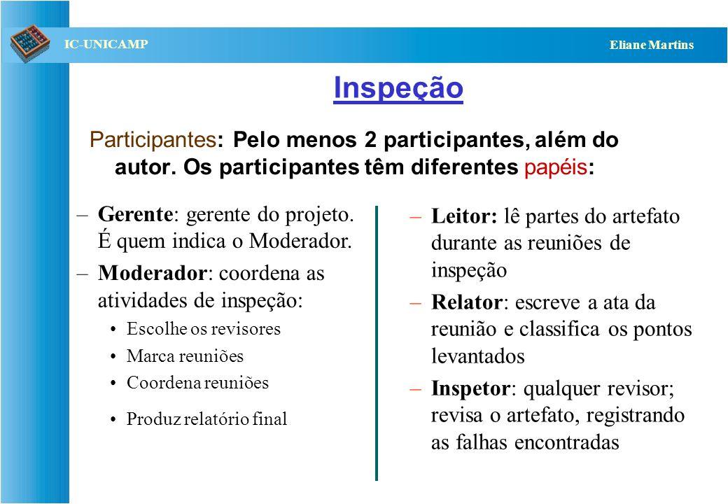 Inspeção Participantes: Pelo menos 2 participantes, além do autor. Os participantes têm diferentes papéis:
