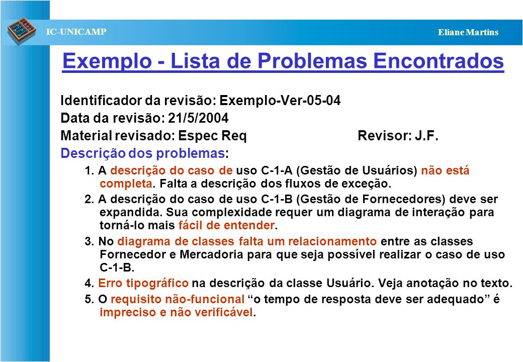Exemplo - Lista de Problemas Encontrados