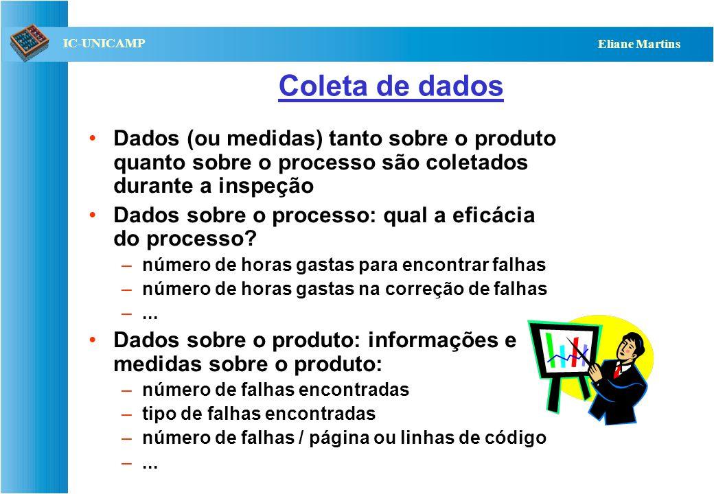 Coleta de dados Dados (ou medidas) tanto sobre o produto quanto sobre o processo são coletados durante a inspeção.