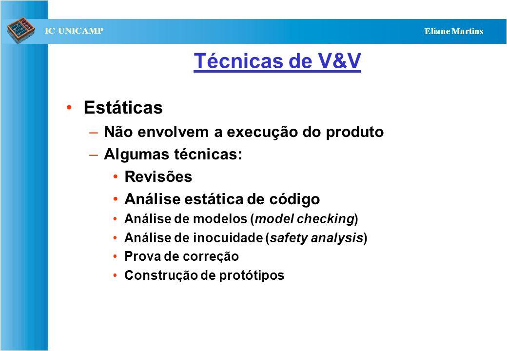 Técnicas de V&V Estáticas Não envolvem a execução do produto