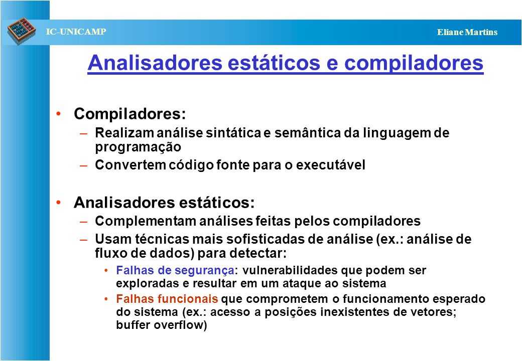 Analisadores estáticos e compiladores