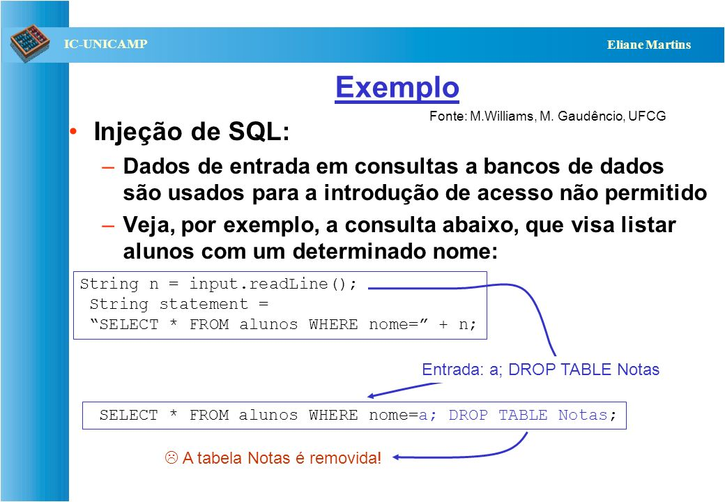 Exemplo Injeção de SQL: