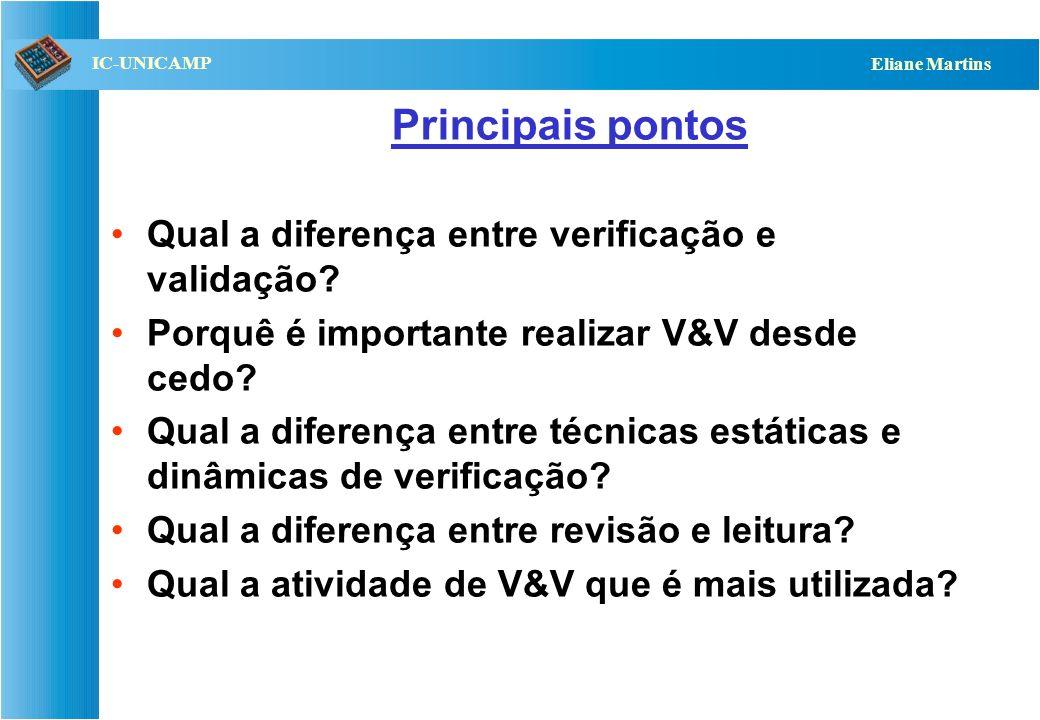 Principais pontos Qual a diferença entre verificação e validação