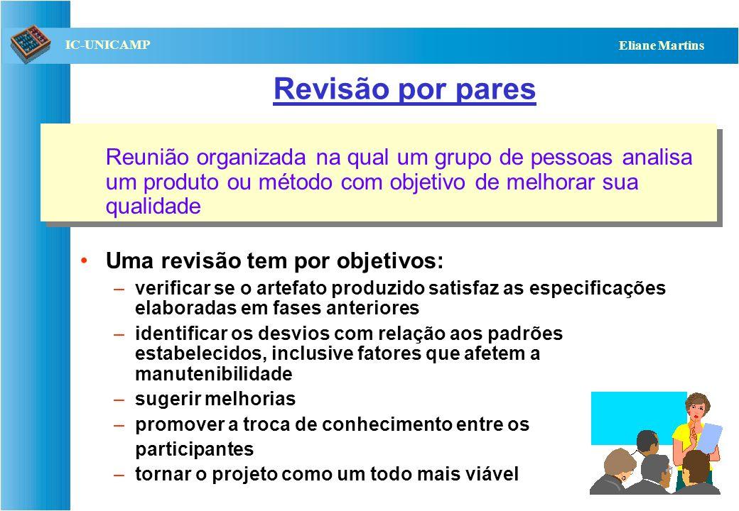 Revisão por pares Reunião organizada na qual um grupo de pessoas analisa um produto ou método com objetivo de melhorar sua qualidade.