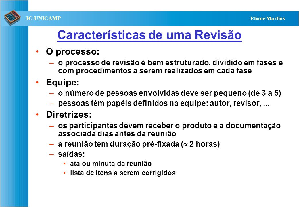 Características de uma Revisão