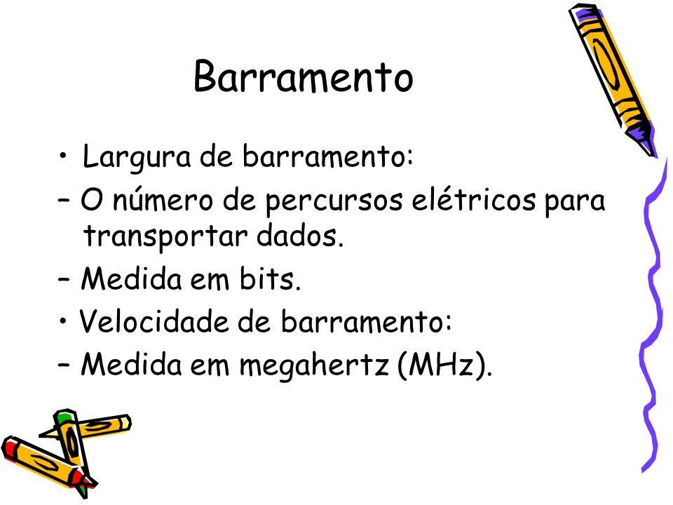 Barramento Largura de barramento: