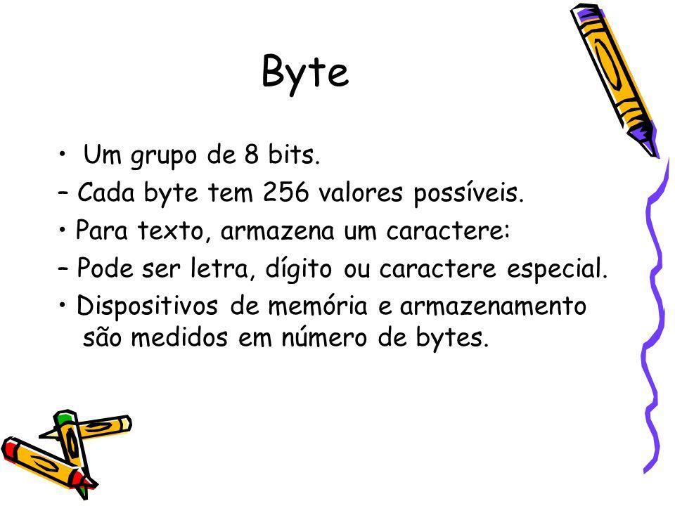 Byte Um grupo de 8 bits. – Cada byte tem 256 valores possíveis.