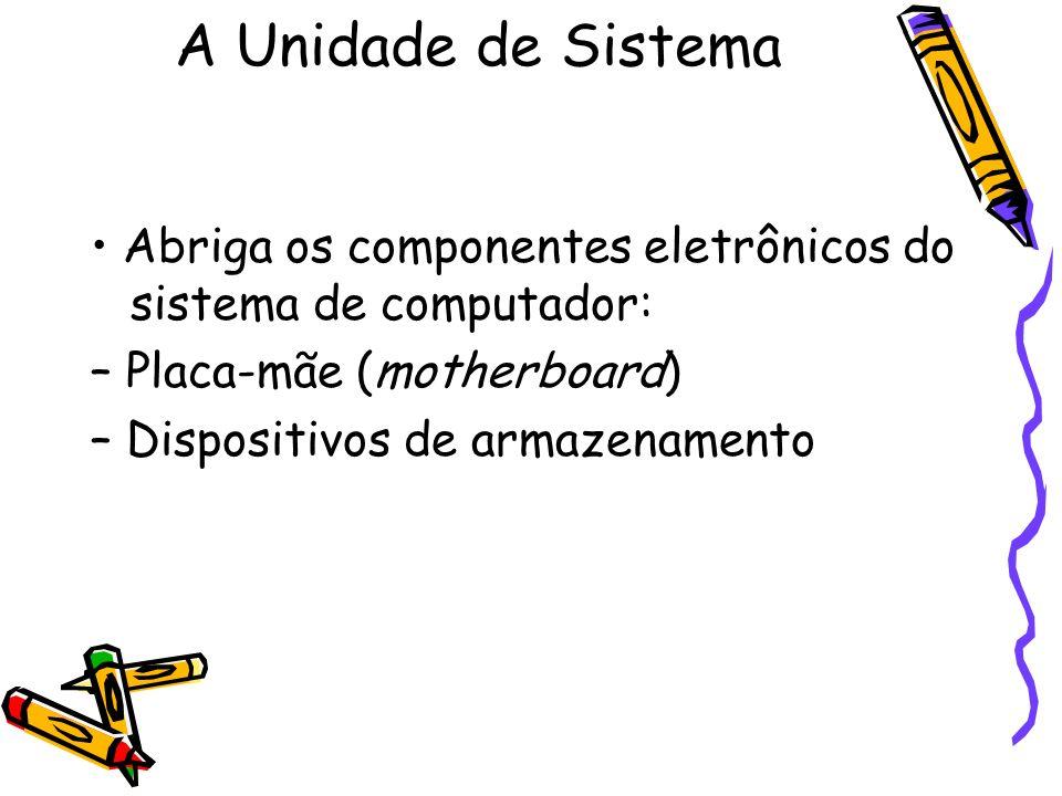 A Unidade de Sistema • Abriga os componentes eletrônicos do sistema de computador: – Placa-mãe (motherboard)