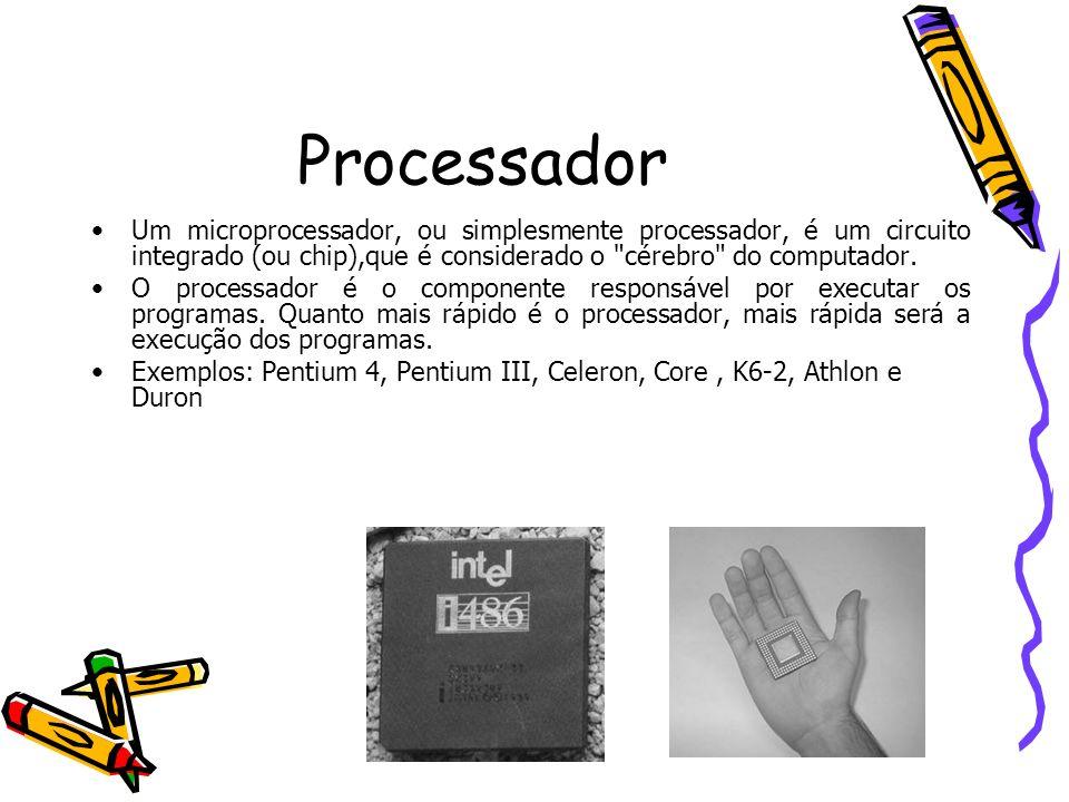 ProcessadorUm microprocessador, ou simplesmente processador, é um circuito integrado (ou chip),que é considerado o cérebro do computador.