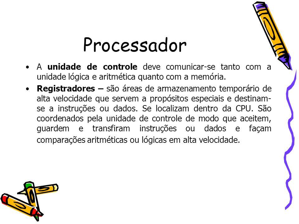 ProcessadorA unidade de controle deve comunicar-se tanto com a unidade lógica e aritmética quanto com a memória.