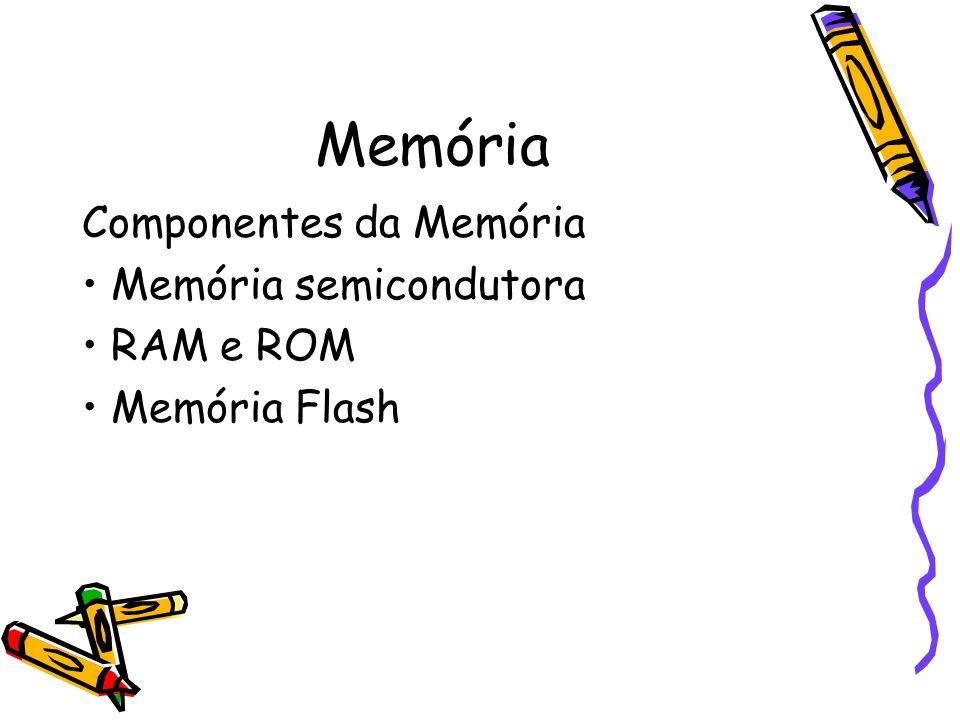 Memória Componentes da Memória • Memória semicondutora • RAM e ROM