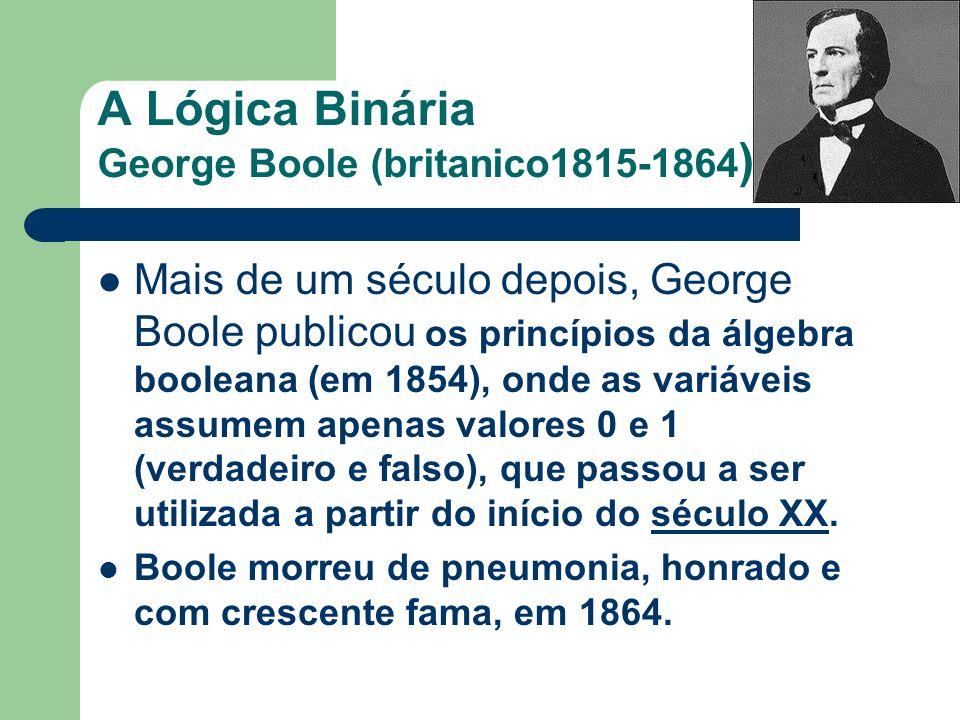 A Lógica Binária George Boole (britanico1815-1864)