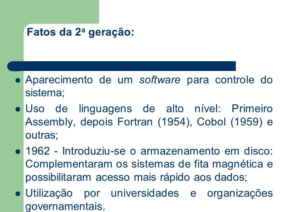 Fatos da 2a geração: Aparecimento de um software para controle do sistema;