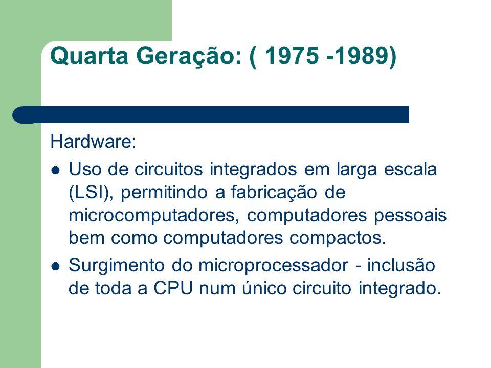 Quarta Geração: ( 1975 -1989) Hardware: