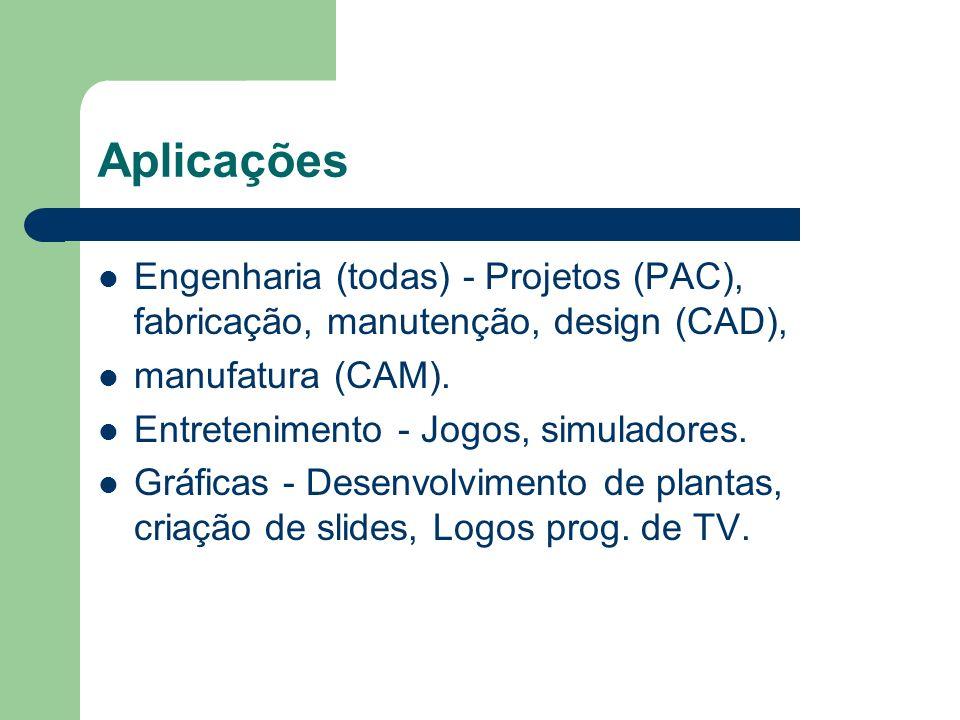 Aplicações Engenharia (todas) - Projetos (PAC), fabricação, manutenção, design (CAD), manufatura (CAM).
