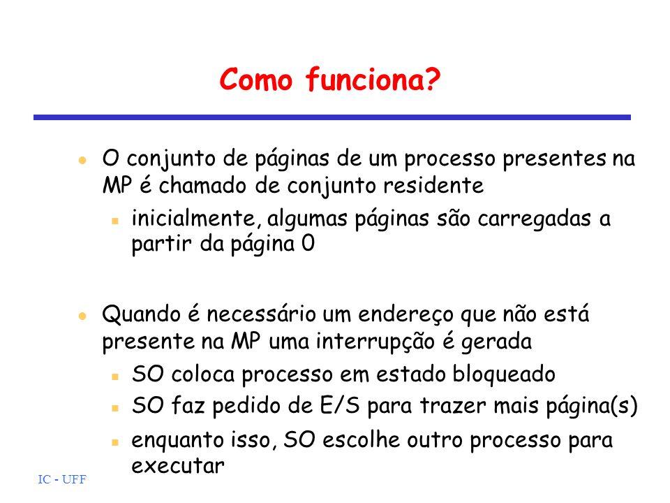 Como funciona O conjunto de páginas de um processo presentes na MP é chamado de conjunto residente.