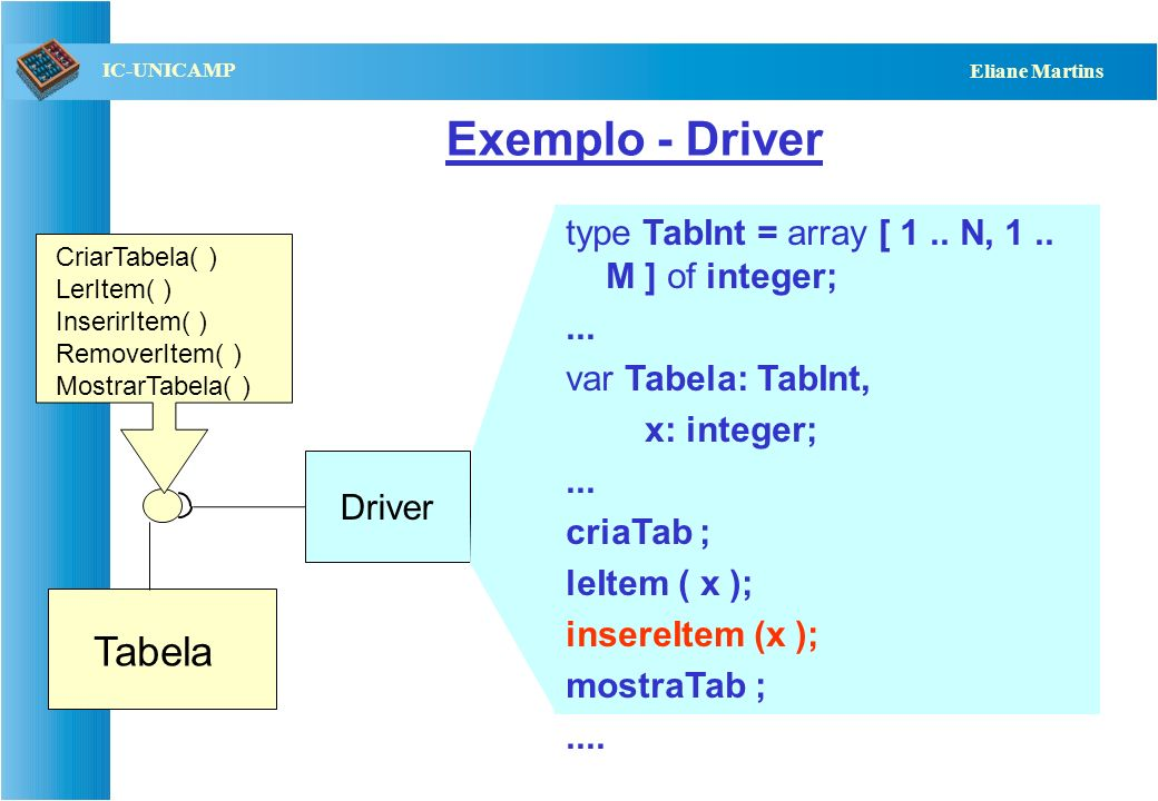 Exemplo - Driver Tabela