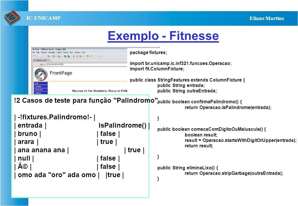 Exemplo - Fitnesse !2 Casos de teste para função Palindromo