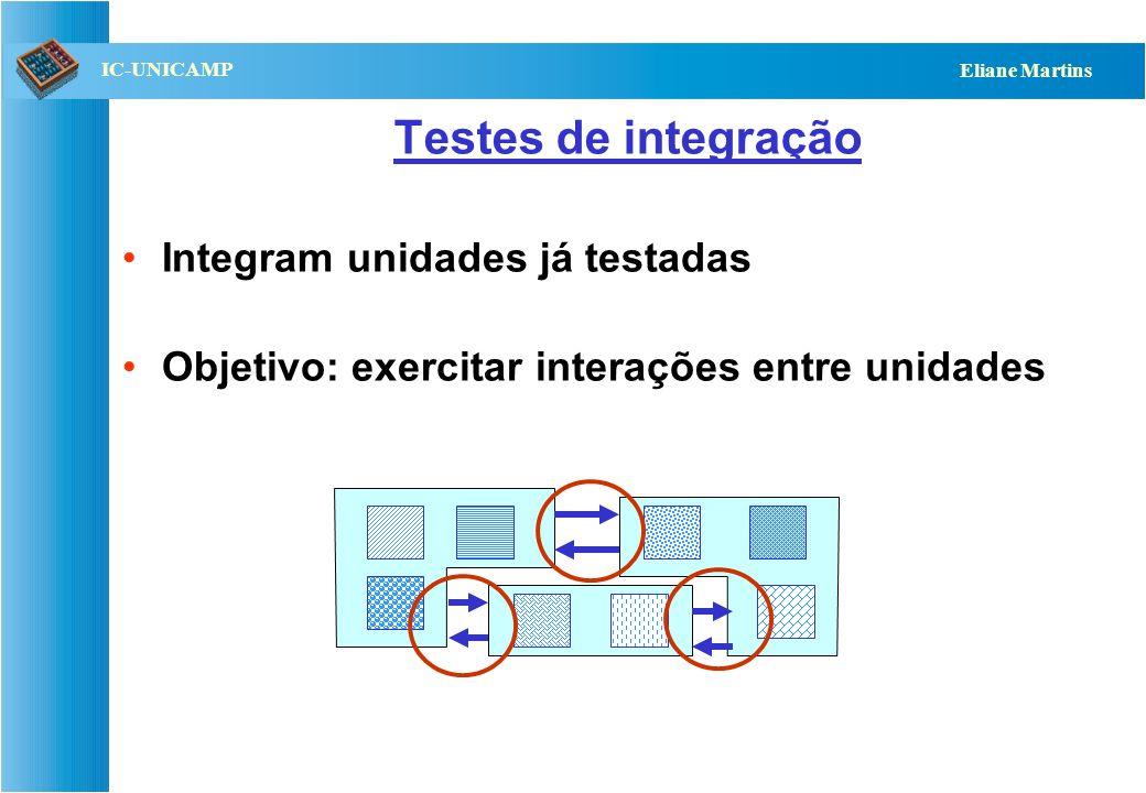 Testes de integração Integram unidades já testadas