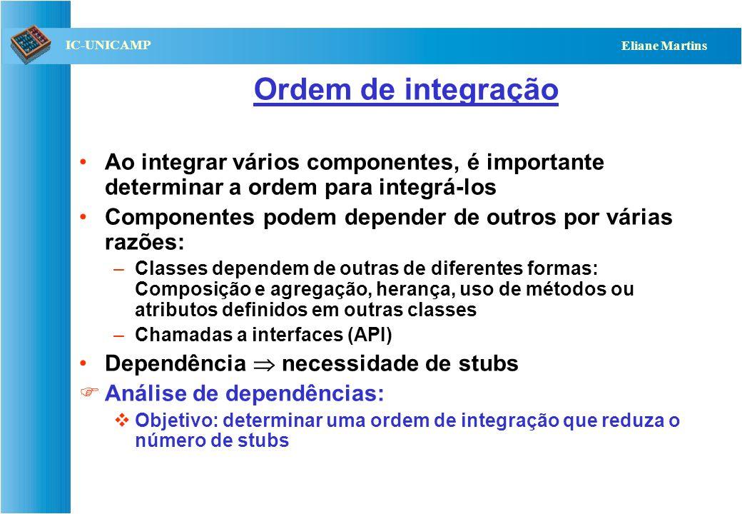 Ordem de integração Ao integrar vários componentes, é importante determinar a ordem para integrá-los.
