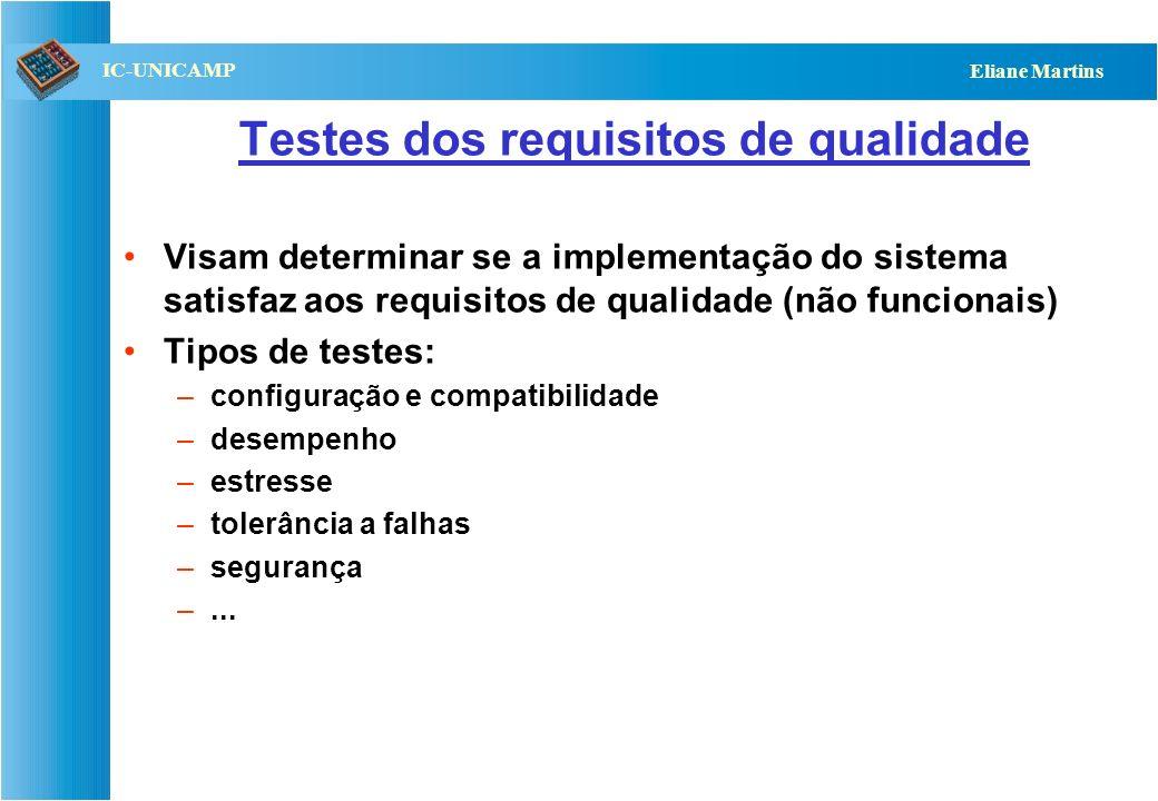 Testes dos requisitos de qualidade