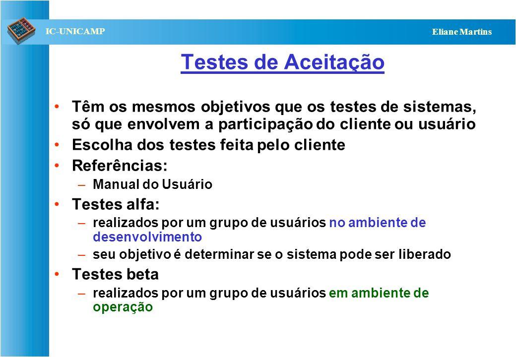 Testes de AceitaçãoTêm os mesmos objetivos que os testes de sistemas, só que envolvem a participação do cliente ou usuário.