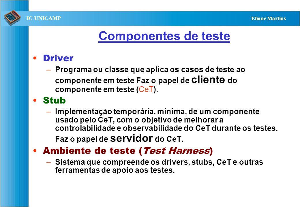 Componentes de teste Driver Stub Ambiente de teste (Test Harness)