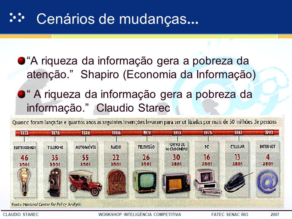 Cenários de mudanças... A riqueza da informação gera a pobreza da atenção. Shapiro (Economia da Informação)