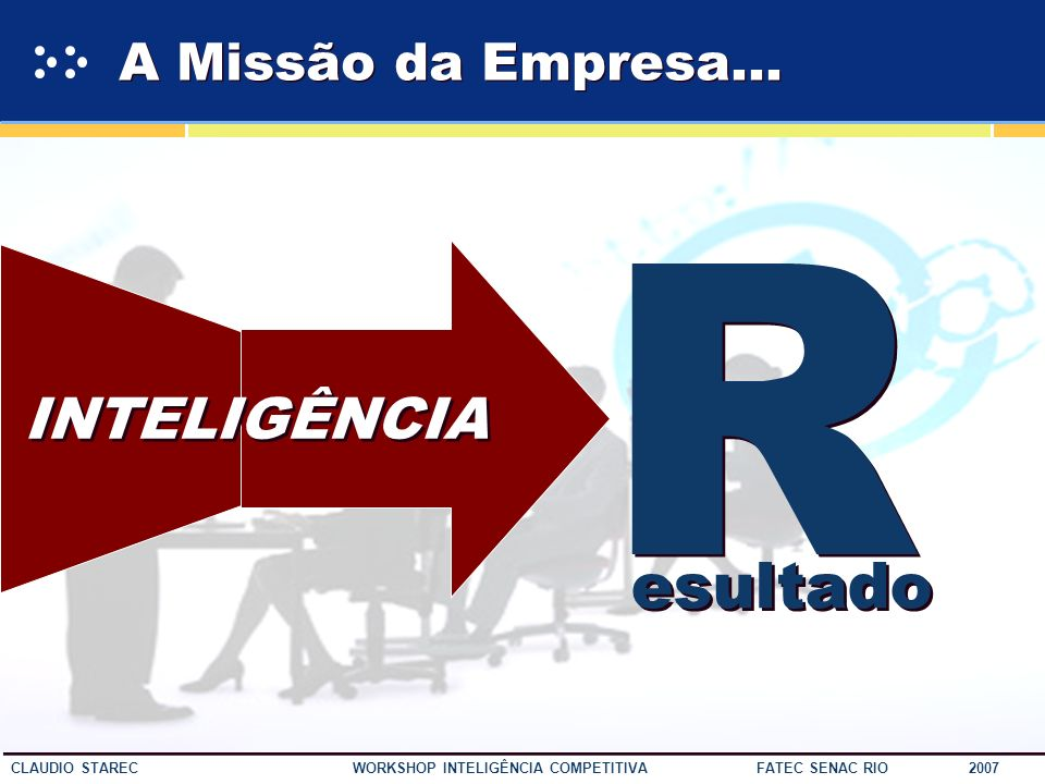 A Missão da Empresa... R INTELIGÊNCIA esultado