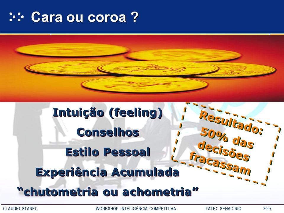 Cara ou coroa Intuição (feeling) Conselhos Resultado: