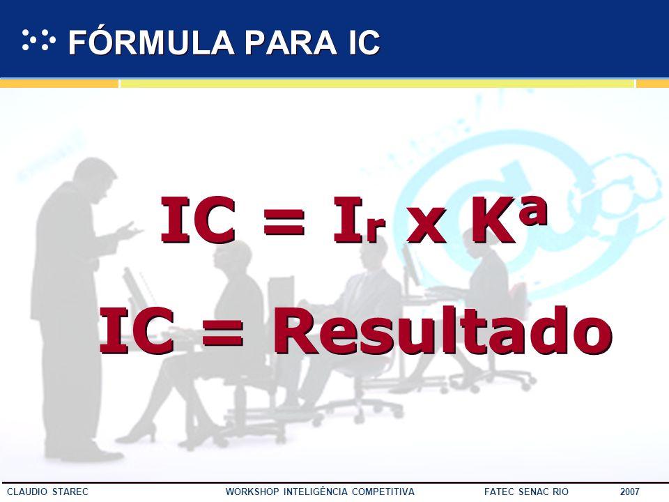 IC = Ir x Kª IC = Resultado