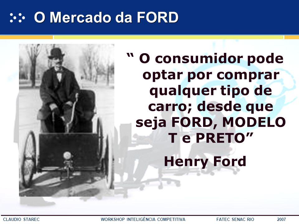 O Mercado da FORD O consumidor pode optar por comprar qualquer tipo de carro; desde que seja FORD, MODELO T e PRETO