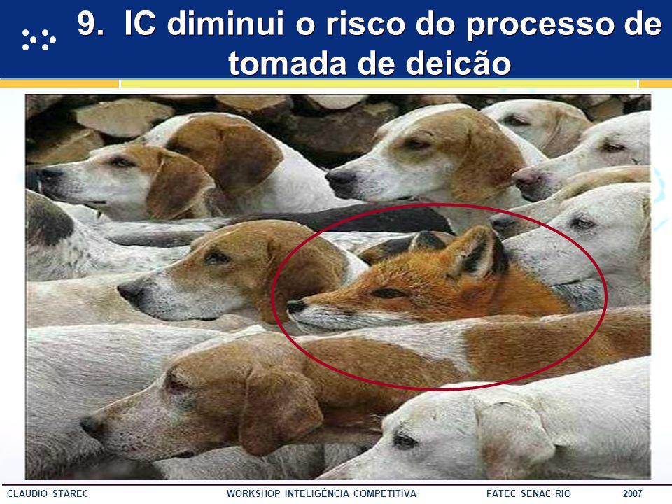 9. IC diminui o risco do processo de tomada de deicão