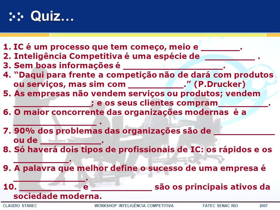 Quiz… IC é um processo que tem começo, meio e _______.