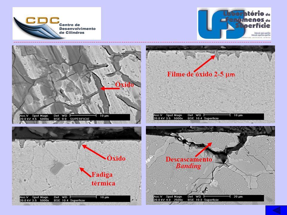 Filme de óxido 2-5 mm Óxido Óxido Descascamento Banding Fadiga térmica